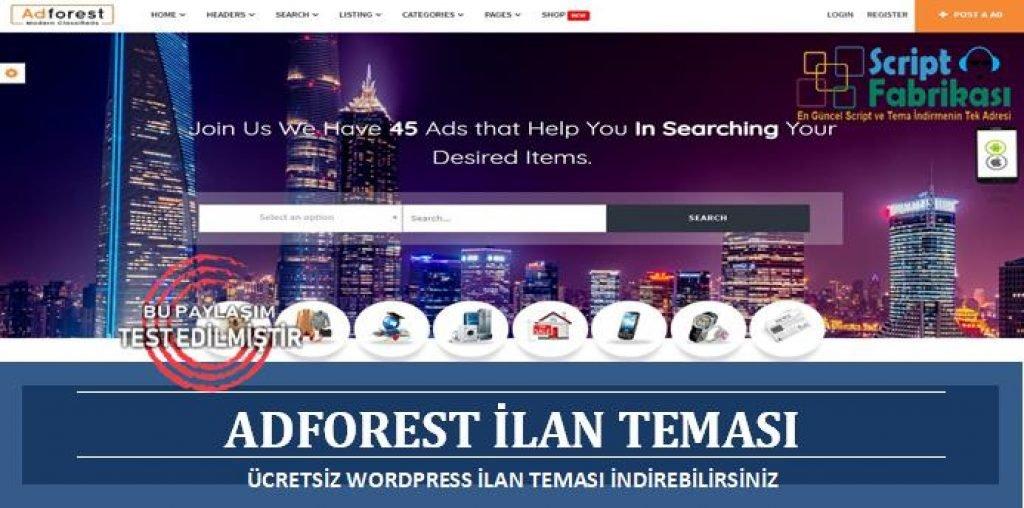 AdForest Ücretsiz WordPress İlan Teması İndir